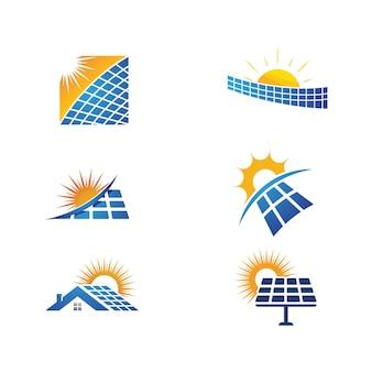 Modello di illustrazione dell'icona di vettore di energia solare