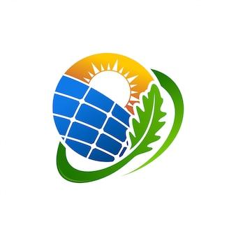 Modello di vettore di progettazione di logo di energia elettrica di energia elettrica del pannello solare