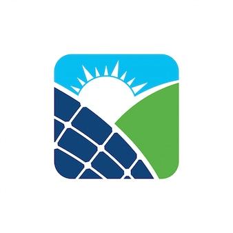 Pannello solare energia elettrica elettricità logo disegno vettoriale