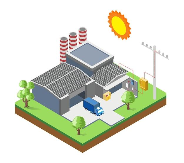 Pannelli solari sul tetto della fabbrica con pali elettrici