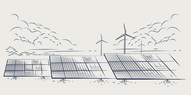 Pannelli solari e turbine eoliche o fonti energetiche alternative energia ecologica sostenibile