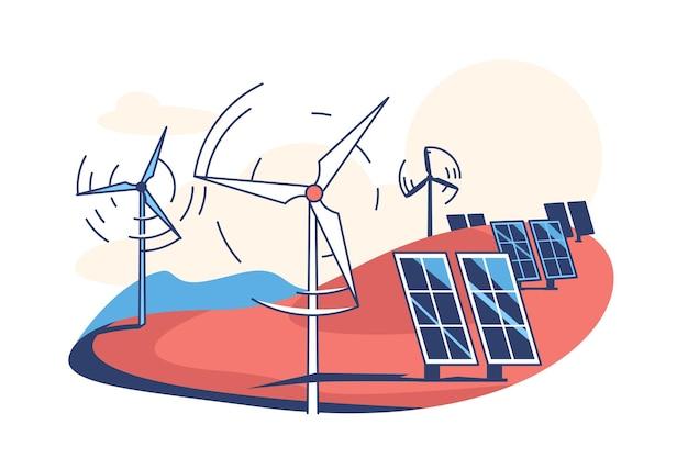 Illustrazione piana di stile dei pannelli solari e delle turbine eoliche
