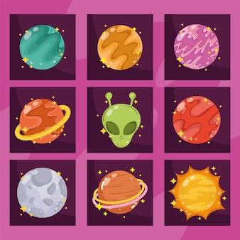Sistema solare e astronomia della galassia spaziale aliena nell'illustrazione di stile del fumetto
