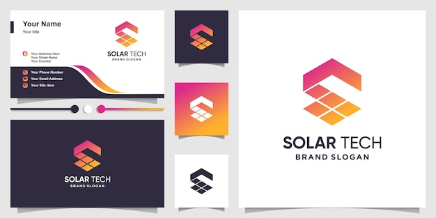 Modello di logo di tecnologia solare con concetto creativo vettore premium