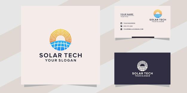 Modello logo tecnologia solare