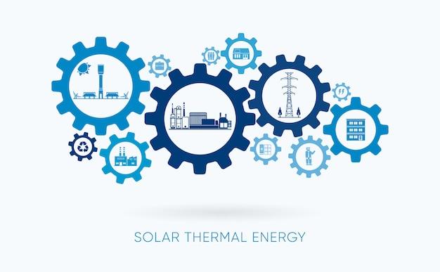 Energia solare termica, centrale termica solare con l'icona dell'ingranaggio