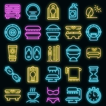 Icona del solarium. outline solarium icona vettore colore neon su nero