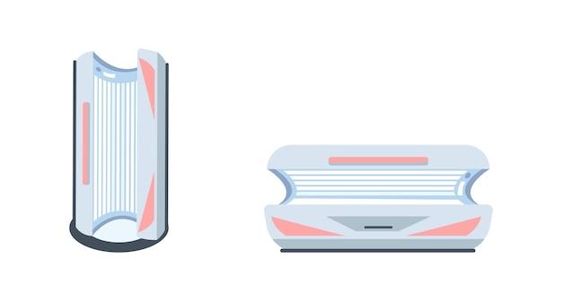 Set di oggetti di colore piatto macchina del solarium. abbronzatura indoor. lettino solare. attrezzatura del salone della stazione termale per l'illustrazione del fumetto isolata procedure per la progettazione grafica web e la raccolta di animazione