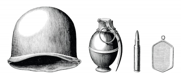 Gli accessori del soldato hanno messo lo stile d'annata disegnato a mano in bianco e nero
