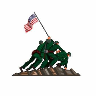 Bandiera americana del soldato che alza nella battaglia di iwo jima il 26 marzo 1945. vettore patriottico dell'illustrazione del fumetto isolato