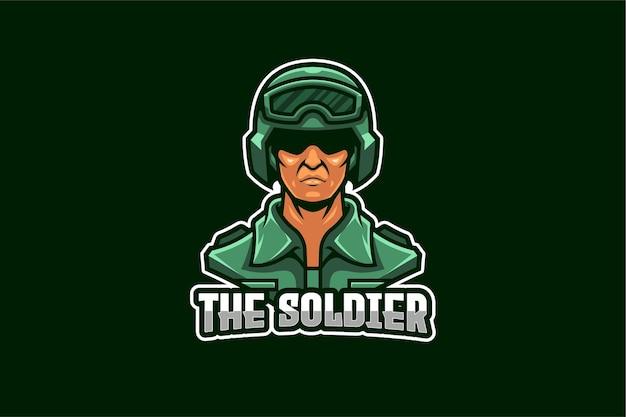 Modello di logo di e-sport dell'esercito del soldato