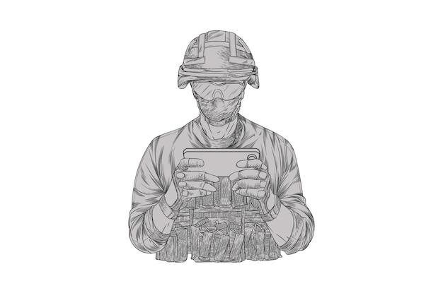 Soldato che fa il gioco del telefono cellulare.