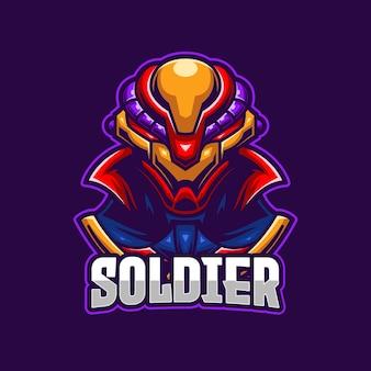 Modello di logo di e-sport soldato