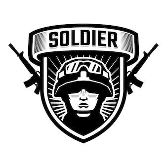 Logo del distintivo della mascotte della testa del soldato