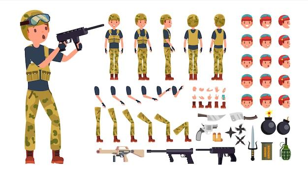 Set di caratteri maschio soldato