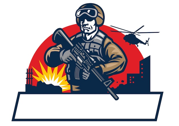 La mascotte del soldato tiene il fucile d'assalto