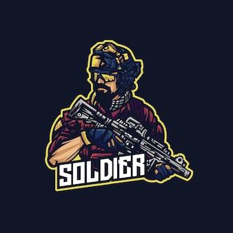 Logo della mascotte del soldato che tiene l'arma