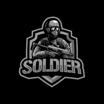 Illustrazione del logo della mascotte del soldato