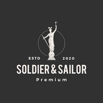 Illustrazione d'annata dell'icona di logo dei pantaloni a vita bassa della statua del marinaio e del soldato