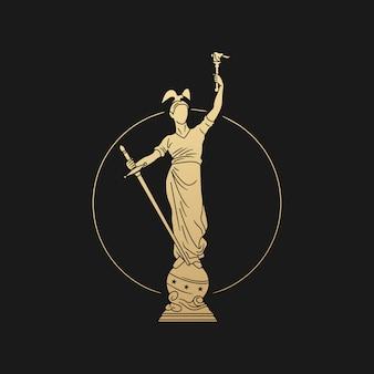 Illustrazione dell'icona di logo della statua del marinaio e del soldato su fondo nero