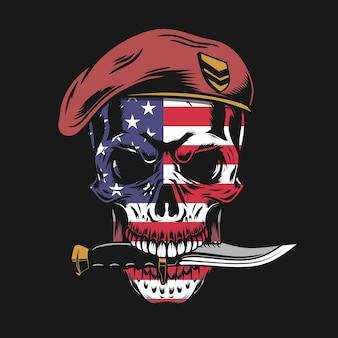 Teschio di soldato con illustrazione di faccia bandiera usa
