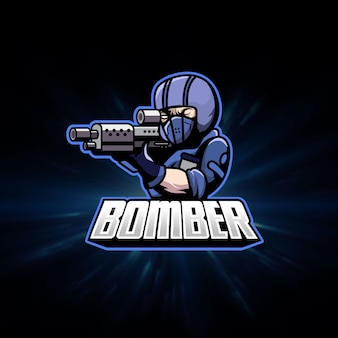 Mascotte di logo di gioco di sport del soldato della pistola Vettore Premium