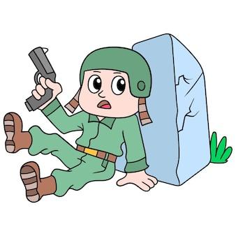 I soldati sono in guerra portando pistole dietro le rocce, illustrazione arte vettoriale. scarabocchiare icona immagine kawaii.