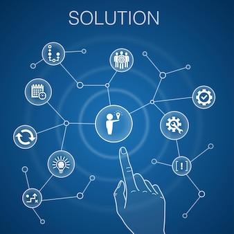 Concetto di soluzione, sfondo blu. icone di strategia, piano, esecuzione, calendario