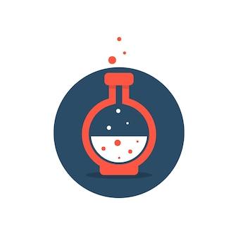 Icona della soluzione con bottiglia da laboratorio rossa. concetto di acido, pozione, alchimia, innovazione, bolle tossiche, becher, strumento. stile piatto tendenza moderna azienda logo design illustrazione vettoriale su sfondo bianco