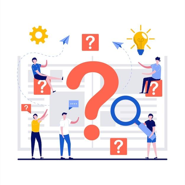 Soluzione di problemi di ricerca di soluzioni con uomini d'affari che trovano risposta difficile o cubo di soluzione con punto interrogativo in design piatto