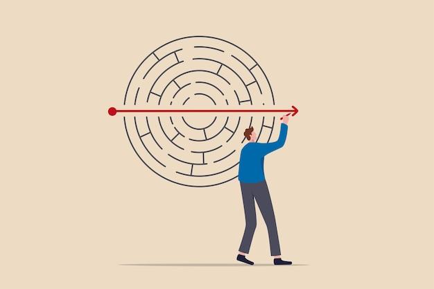 Risolvere problemi aziendali, creatività o immaginazione per pensare alla soluzione, alla strategia e alla pianificazione del concetto di successo aziendale, l'uomo d'affari risolve il labirinto o il puzzle con la freccia in linea retta.