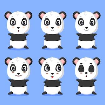 Alcune illustrazioni di vettore di espressione panda carino