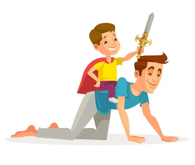 Il personaggio del figlio cavalca il padre come un cavallo. illustrazione di cartone animato piatto vettoriale