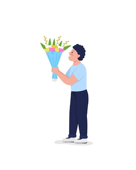 Figlio che dà ai fiori un carattere dettagliato di colore piatto. mazzo sorridente della tenuta del ragazzo.