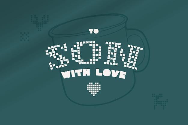 To son with love lettering è fatto di maglie rotonde spesse segno di stile piatto con un set di icone bonus