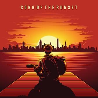 Canzone del vettore dell'illustrazione di tramonto