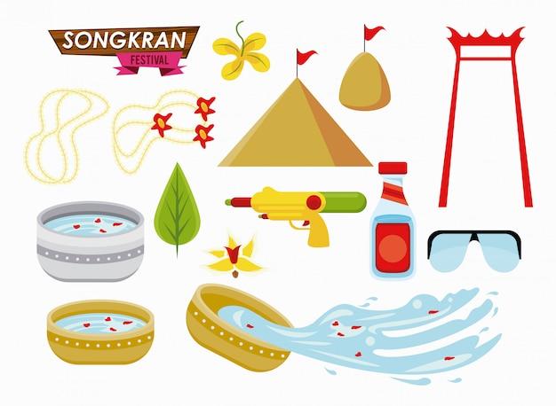 Insieme di elementi del partito di celebrazione di songkran