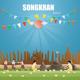 Songkran festival concept con people are cause sand pagodas and playing water and splashing water and cause in thailand