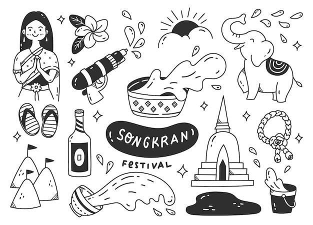 Festival di songkran nel doodle della tailandia