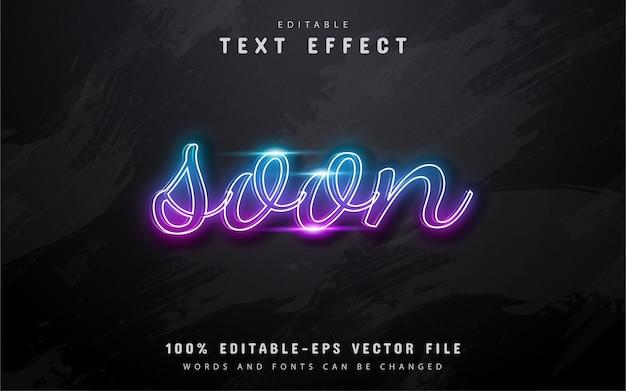 Presto testo - effetto di testo in stile neon