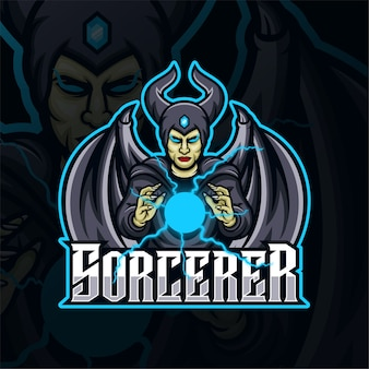 Logo esport di gioco mascotte stregone