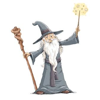 Stregone con la bacchetta facendo illustrazione magica