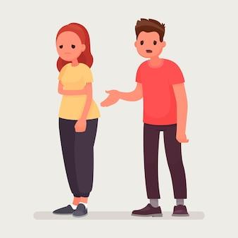 Scusate. l'uomo si scusa con la donna offesa. relazioni. in uno stile piatto