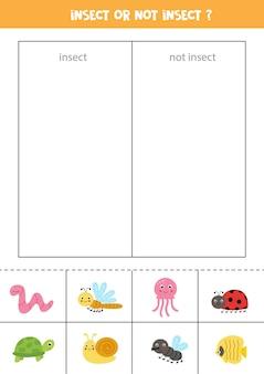 Ordina le carte in categorie. insetti o non insetti. gioco logico per bambini.