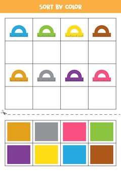 Ordina le immagini per colore. righelli dei cartoni animati. gioco per bambini. taglia e incolla.