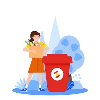 Smistamento dei rifiuti ragazza con rifiuti organici ordinati vicino ai bidoni della spazzatura su sfondo bianco