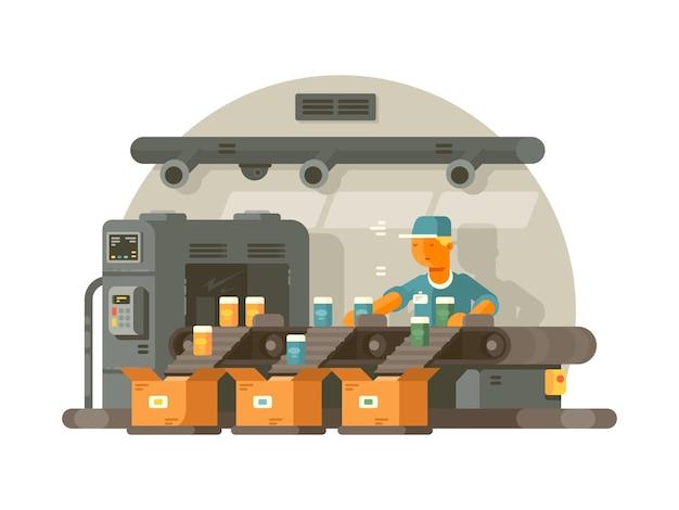 Smistamento e confezionamento su nastro trasportatore. operaio di fabbrica in piedi in linea.