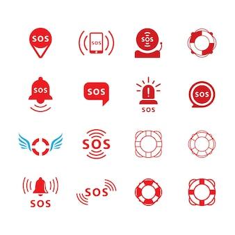 Modello di illustrazione del design dell'icona di vettore sos