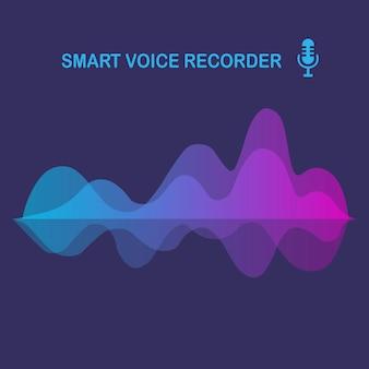 Onda audio sonora dall'equalizzatore. frequenza della musica nello spettro dei colori. design piatto