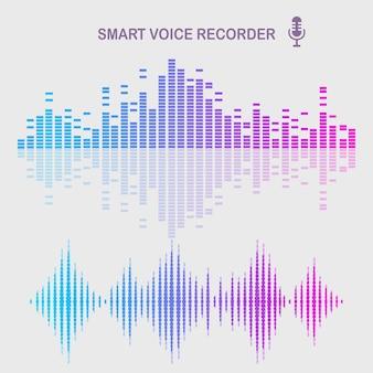 Onda audio sonora dall'equalizzatore. frequenza della musica nello spettro dei colori.